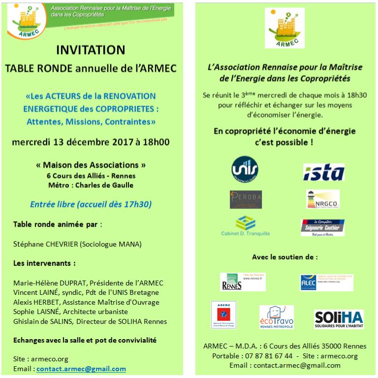 Flyer invitation conférence annuelle de l'ARMEC