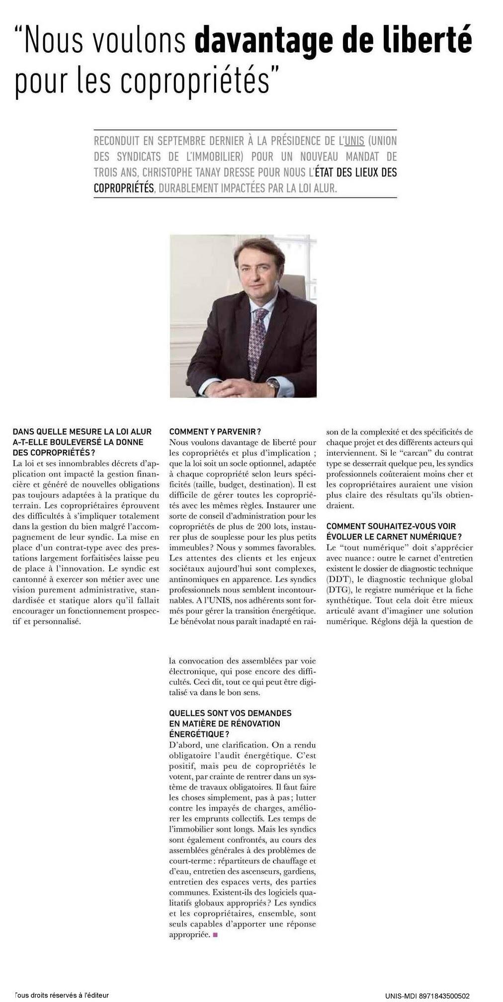 Interview de Christophe Tanay dans Libération