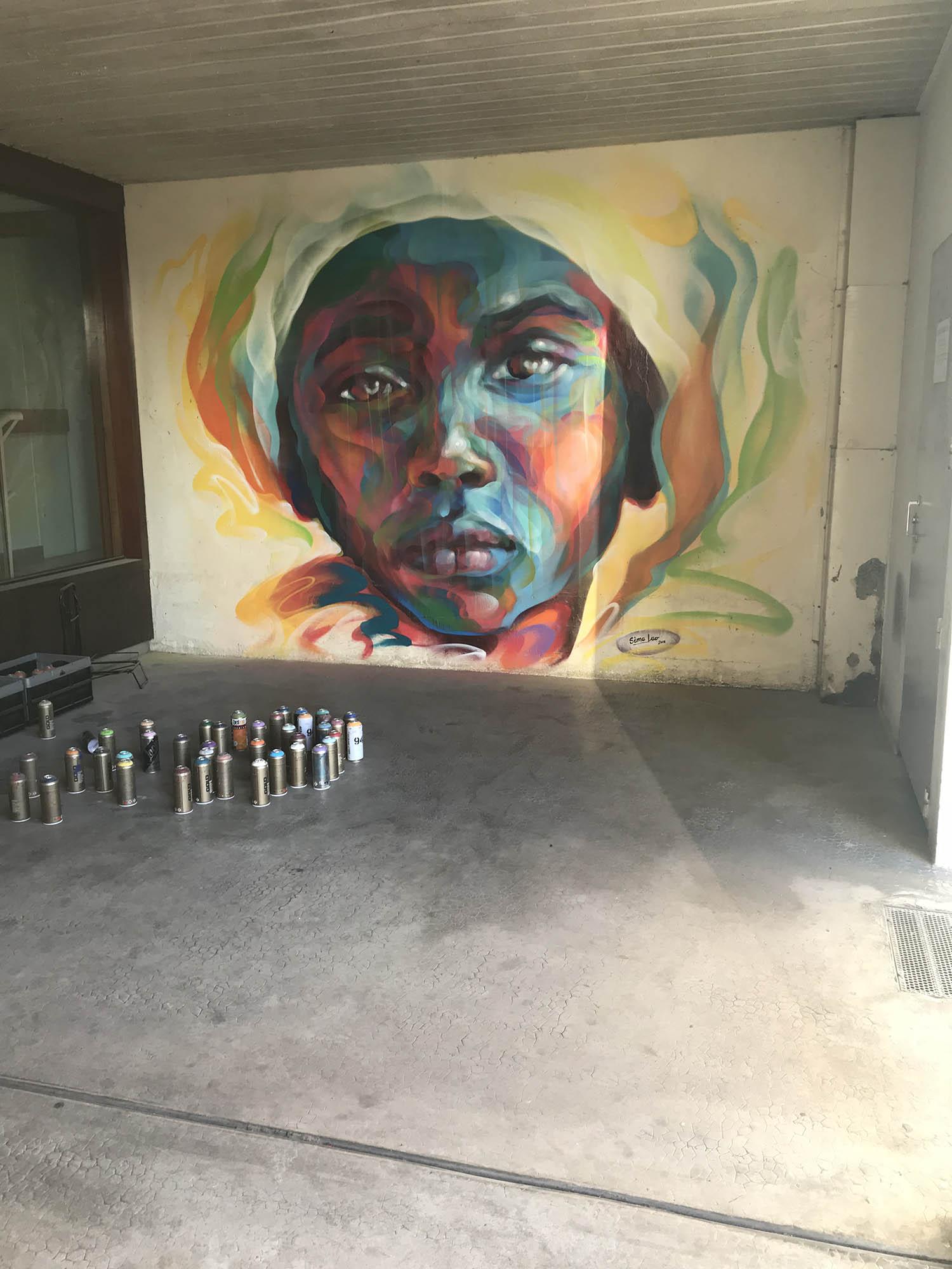 fresque murale réalisée par Sema Lao rue du Bourbonnais à Rennes