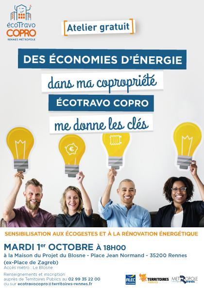 Dans le cadre de l'accompagnement écoTravo, Territoires-Rennes.fr vous invite à participer à un atelier de sensibilisation aux écogestes et à la rénovation énergétique leMardi 1eroctobre 2019 à 18h00à laMaison du Projet du Blosne, place Jean Normand,à Rennes.
